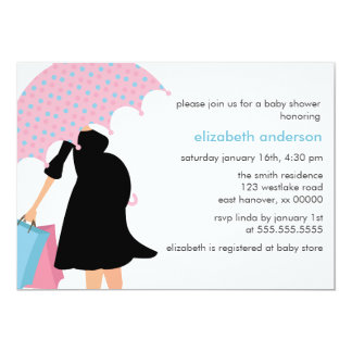 Mom Under Umbrella Baby Shower Card