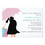 Mom Under Umbrella Baby Shower Invitations