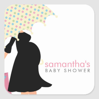Mom Under Umbrella Baby Shower Square Sticker
