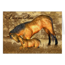 Mom Valentine's Day Card With Horse And Foal
