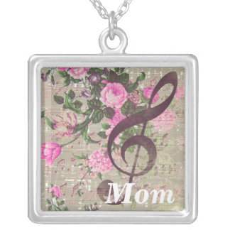 Mom Vintage Rose Music Square Necklace
