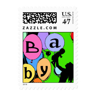 Mom w Baby Silhouette Stamp Festive Balloon Shower