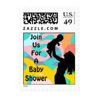Mom w Baby Silhouette Stamp Festive Ribbon Shower