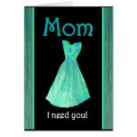 MOM - Walk Me Down the Aisle - Mint Green Gown Greeting Card