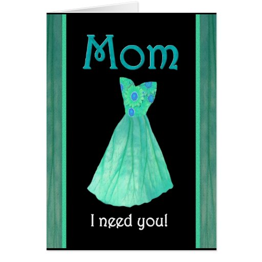 MOM Walk Me Down the Aisle Mint Green Gown Greeting Cards from