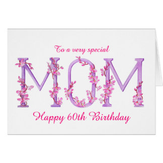Mom watercolor Orchid custom 60th birthday card