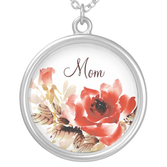 Mom Watercolor Rose Silver Plated Necklace