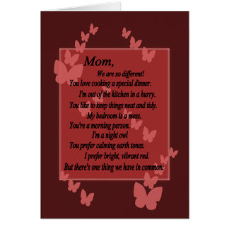 Mom, We Are Different, But Same-Mother's Day Card2 Card