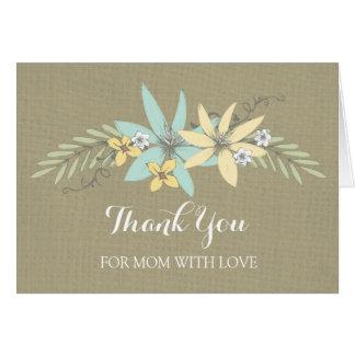 Mom Wedding Day Thank You Burlap Spring Floral Card