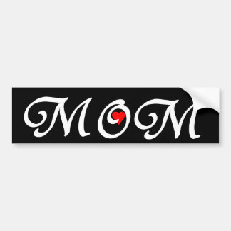 Mom with a red heart bumper sticker