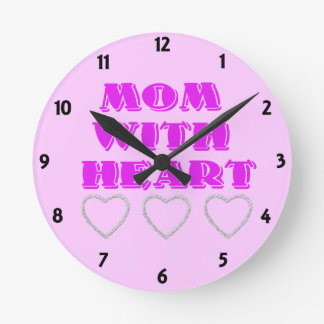 Mom with heart round clocks