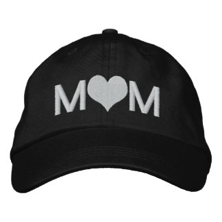 Mom With Heart Embroidered Hat