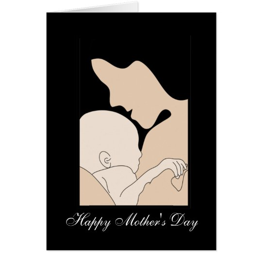mom with new baby illustration , greeting card