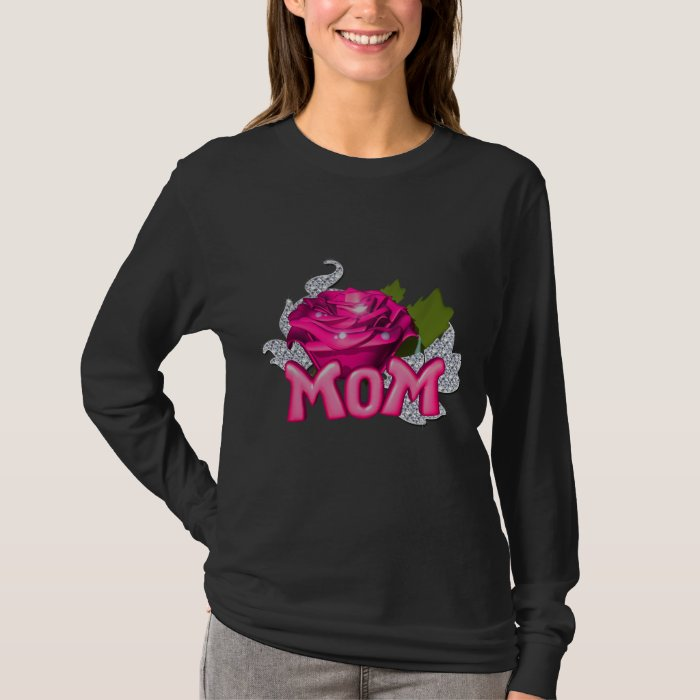 Mom With Pink Tattoo Rose T-Shirt