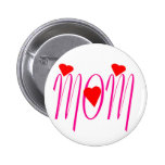 Mom with Red Hearts 2 Inch Round Button