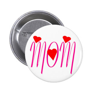 Mom with Red Hearts Button