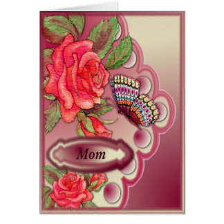 Mom with red roses and butterfly on cream and pink