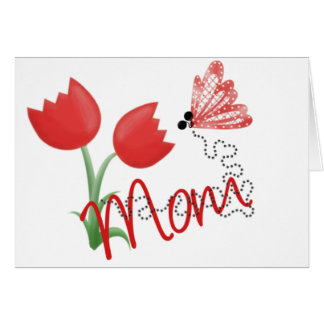 Mom With REd Tulip and Butterfly