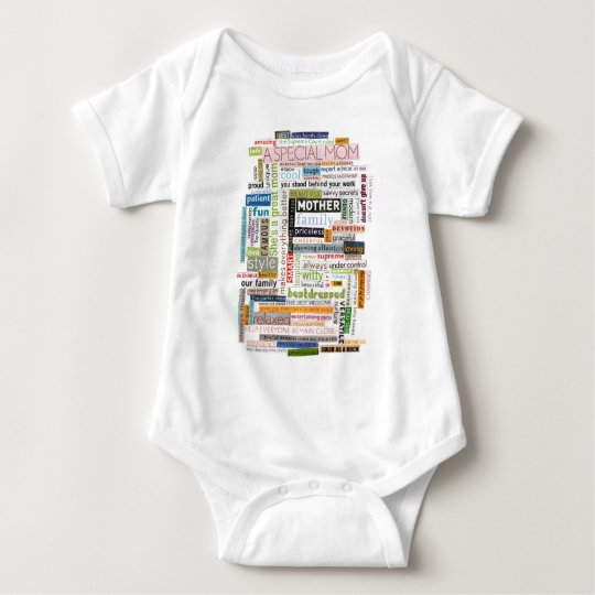 Mom Word Collage Baby Bodysuit