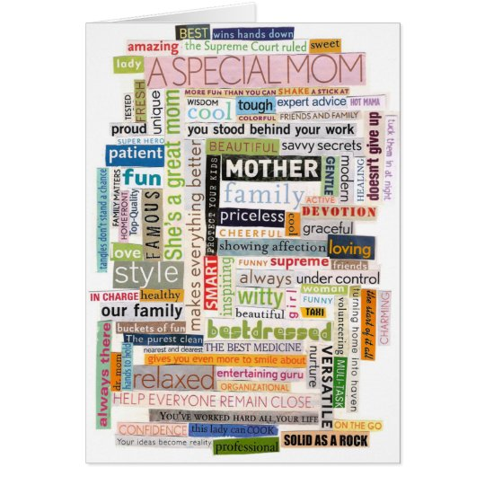 Mom Word Collage Card
