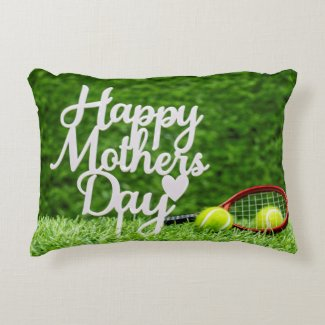Mom Word  tenis ball Happy Mother's Day on green Accent Pillow