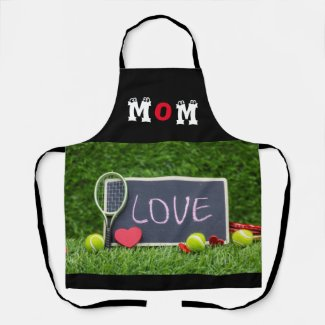 Mom Word with love tennis ball for Mother's Day Apron