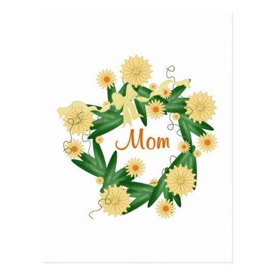 Mom (yellow wreath) postcard