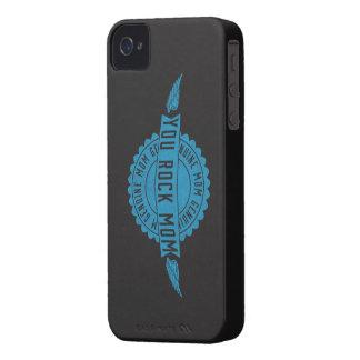 Mom You Rock Emblem Wings Blue Case-Mate iPhone 4 Case
