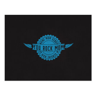 Mom You Rock Emblem Wings Blue Postcard