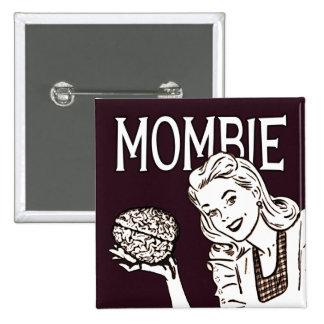 Mombie Retro Zombie 2 Inch Square Button