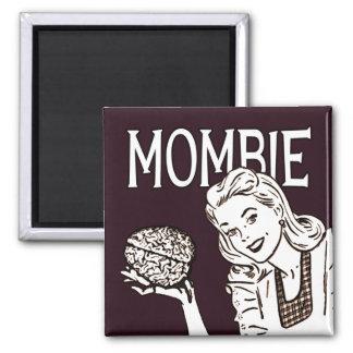 Mombie Retro Zombie 2 Inch Square Magnet