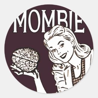 Mombie Retro Zombie Classic Round Sticker