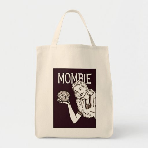 Mombie Retro Zombie Grocery Tote Bag