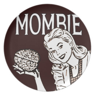 Mombie Retro Zombie Mom Plate