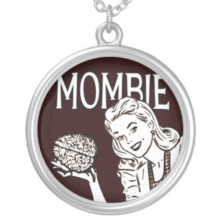 Mombie Retro Zombie Mom Silver Plated Necklace