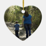 Moment Captured Double-Sided Heart Ceramic Christmas Ornament