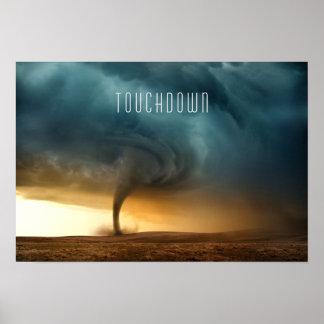Momento del aterrizaje del tornado póster