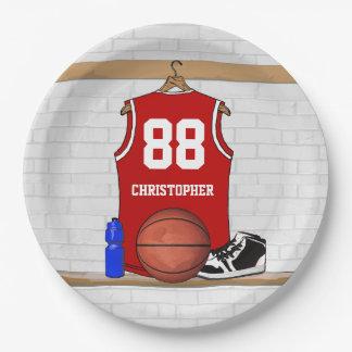 Momento del jersey del baloncesto platos de papel