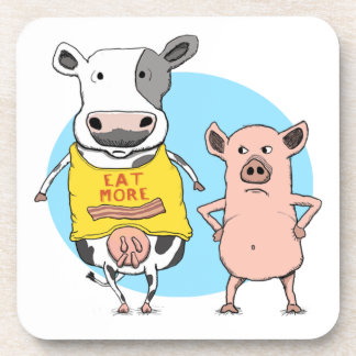 Momento torpe divertido de la vaca y del cerdo posavaso