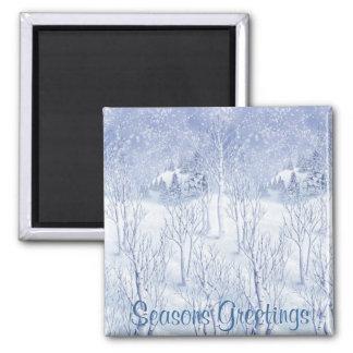 Momentos del invierno, saludos de las estaciones imanes