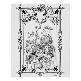 Moments of Solitude Art Nouveau - Adult Coloring Poster