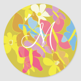 Momgrammed Butterflies Are Free Classic Round Sticker