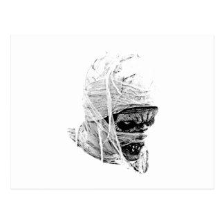 Momia asustadiza de Halloween. Horror y grabado Postal