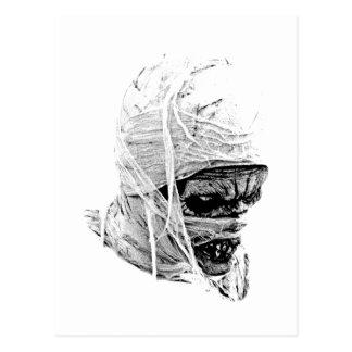Momia asustadiza de Halloween. Horror y grabado Tarjeta Postal