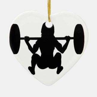 momia del entrenamiento adorno navideño de cerámica en forma de corazón