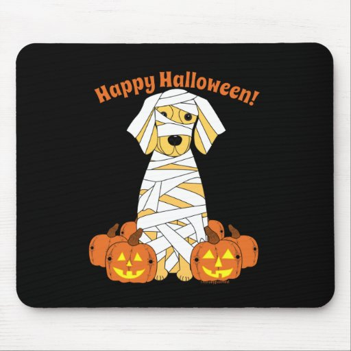 Momia del golden retriever del feliz Halloween Alfombrillas De Raton