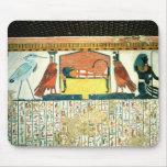 Momia en una cama fúnebre con diversas divinidades tapete de ratón