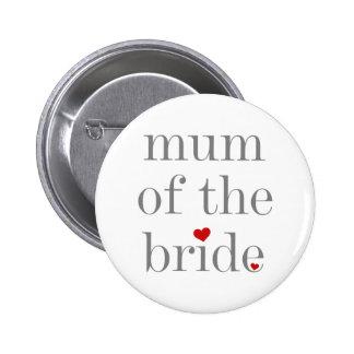 Momia gris del texto del botón de la novia pin