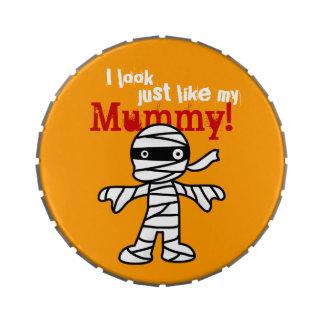 Momia linda divertida - feliz Halloween Jarrones De Dulces