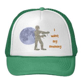 Momia que camina en el claro de luna. quiero a mi gorros bordados